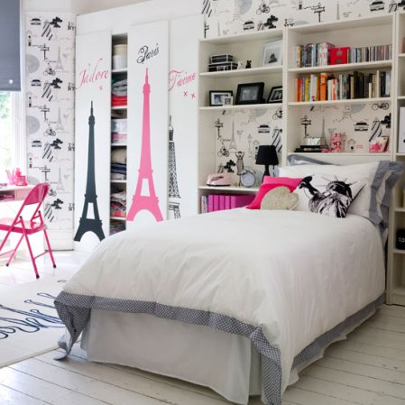 Pink-gray-color-combination-pretty-grey-wall-bedding-pink-paris-theme-accent-wall-paper-modern-curtains-bedroom-idea-formal-girly-classy-unique-decor-idea-decoration-fun-elegant-unique-cute